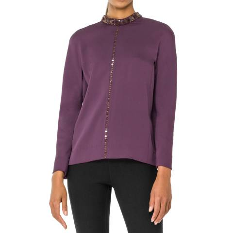 Leon Max Collection Eggplant Long Sleeve Beaded Blouse
