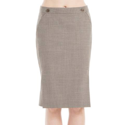 Leon Max Collection Heather Brown Tropical Wool Seamed Slim Skirt