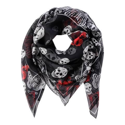 Alexander McQueen Black And Ivory Skull Scarf Wool Blend