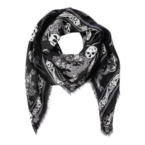 Alexander McQueen Black And Ivory Skull Border Scarf Wool Blend