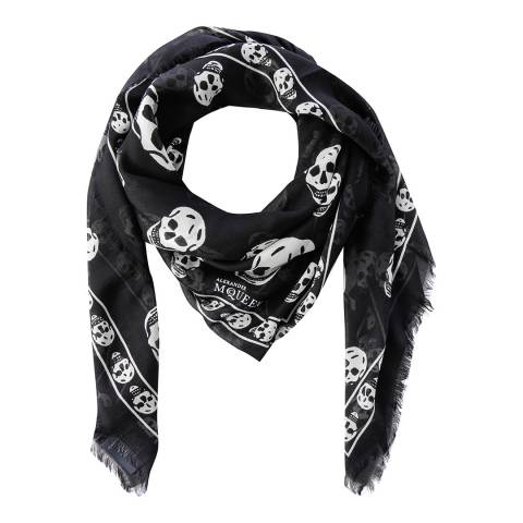 Alexander McQueen Black And Ivory Skull Border Scarf Wool Blend