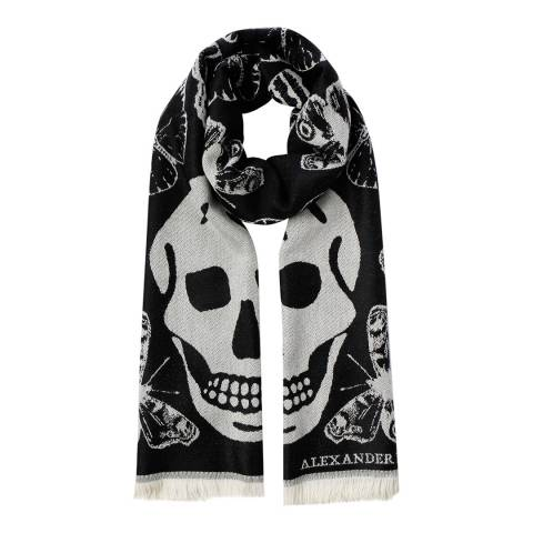Alexander McQueen Black And Ivory Large Skull Scarf Wool Blend