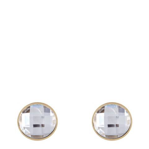 Black Label by Liv Oliver Gold Crystal Disc Stud Earrings