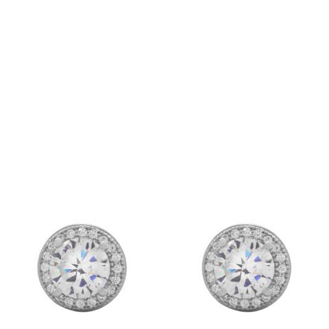 Black Label by Liv Oliver Silver Halo Stud Earrings