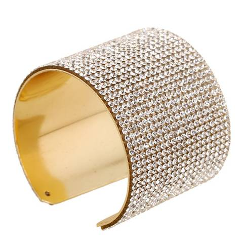 Black Label by Liv Oliver Gold Multi Crystal Wide Cuff Bangle