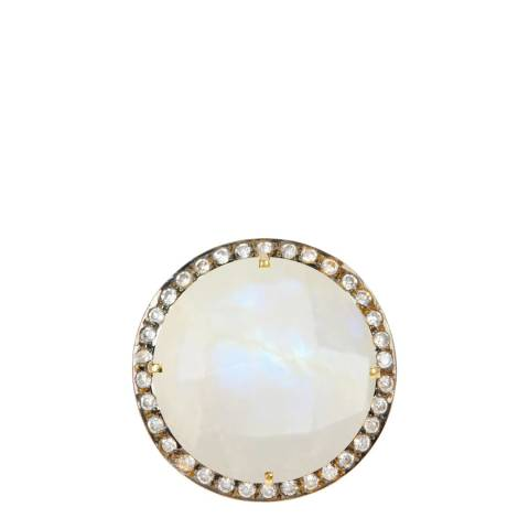 Black Label by Liv Oliver Gold Moonstone Statement Ring