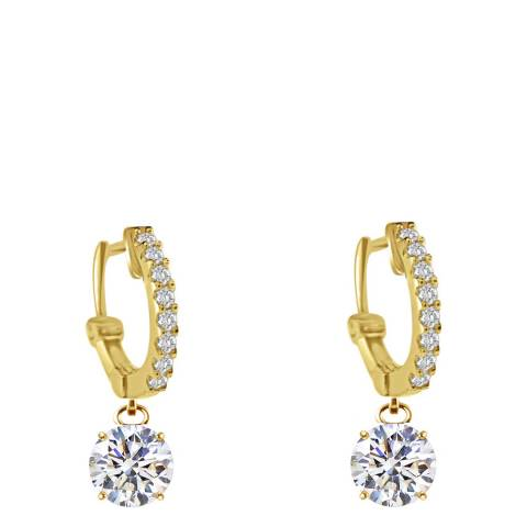 Black Label by Liv Oliver Gold Solitaire Drop Earrings