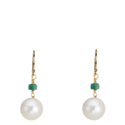 Black Label by Liv Oliver Gold Emerald Pearl Drop Earrings
