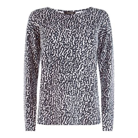 Jaeger Navy Ripple Print Jersey Top