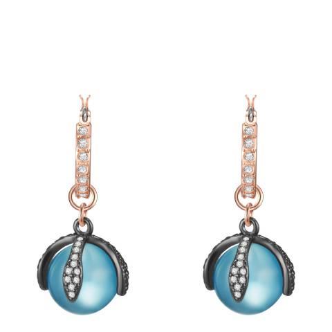 Lilly & Chloe Rosegold/Blue Crystal Elements Swarovski Earrings