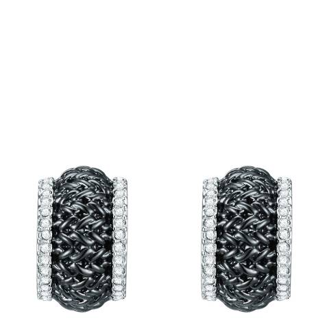 Lilly & Chloe Silver/Black Crystal Elements Swarovski Earrings