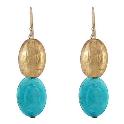 Liv Oliver Gold and Turquoise Drop Earrings