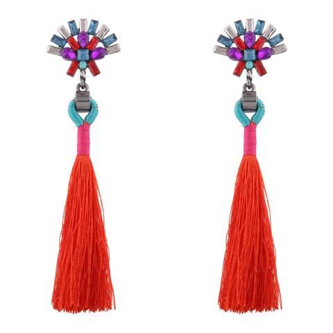 Liv Oliver Red Tassel Drop Earrings