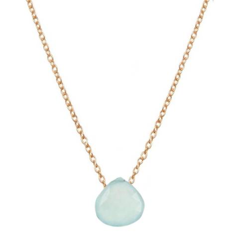Liv Oliver Gold Chalcedony Drop Necklace