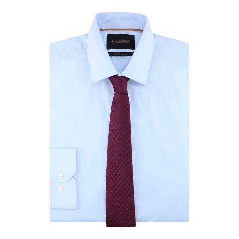 Austin Reed Blue Poplin Regular Fit Cotton Blend Shirt