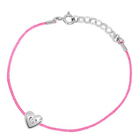 Only You Pink/Silver Heart Weaved Nylon String Bracelet 0.03 cts