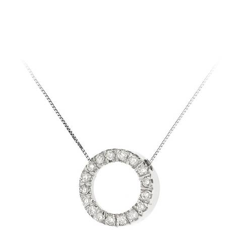 Pretty Solos Silver Diamond Circle Pendant Necklace 0.08Cts