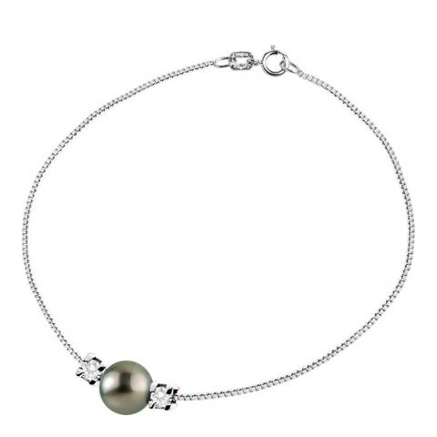 Only You Silver/Tahiti Pearl And Diamond Link Bracelet 0.05 cts