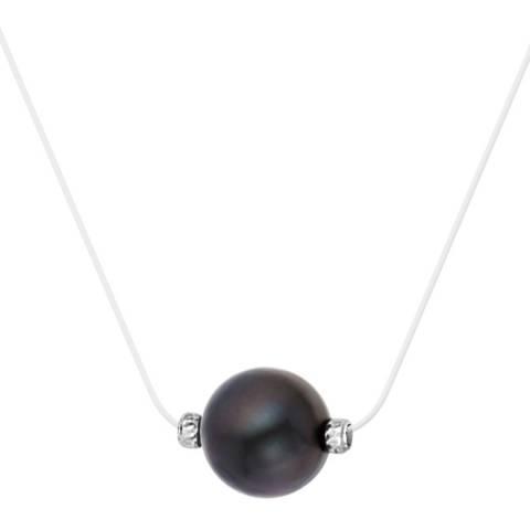 Pretty Solos Clear/Black Tahiti Pearl Necklace