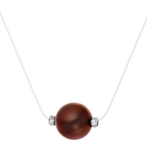 Pretty Solos White/Chocolate Pearl Nylon String Necklace 9-10mm