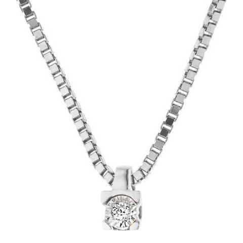 Pretty Solos White Gold Solitaire Diamond Necklace 0.01 cts