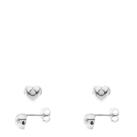 Only You Silver Diamond Heart Earrings 0.05Cts