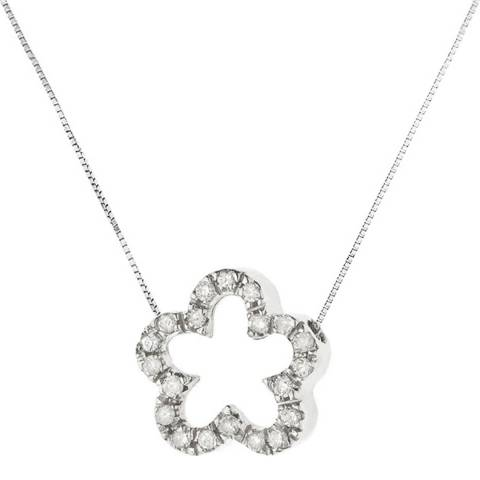 Only You Silver Diamond Flower Pendant Necklace 0.08Cts