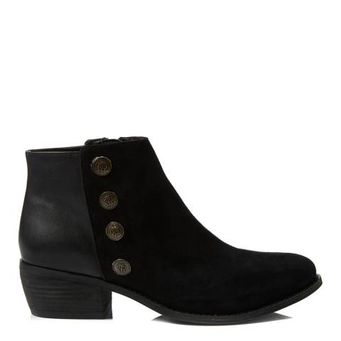 Dune Black Suede/Leather Panella Ankle Boots