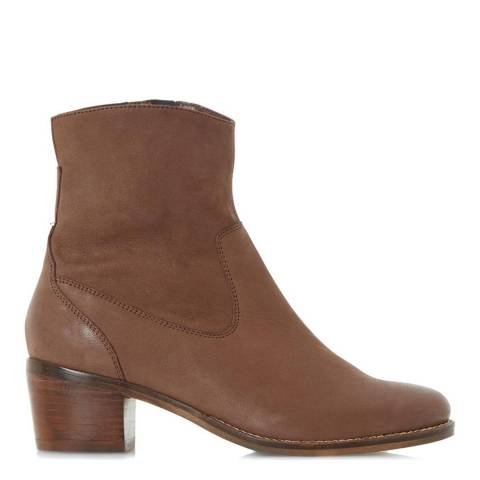 Dune Tan Leather Pocket Ankle Boots