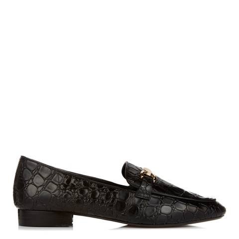 Dune Black Croc Leather Lolla Loafer