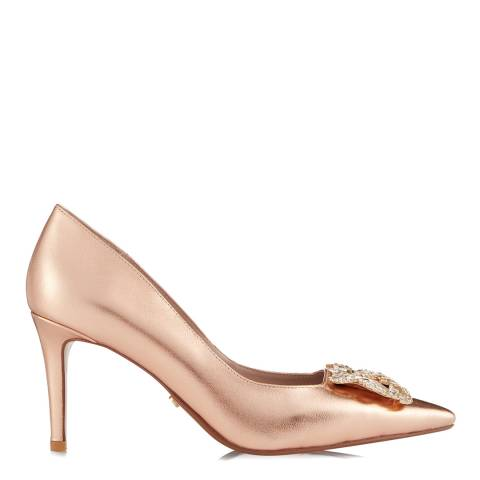Dune Rose Gold Leather Betti Court Heels