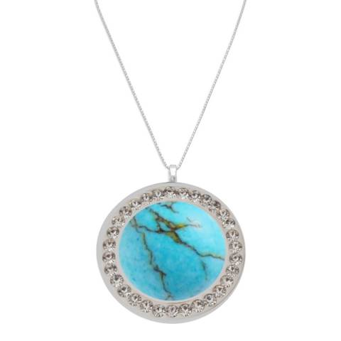 Alexa by Liv Oliver Silver Turquoise and Crystal Necklace