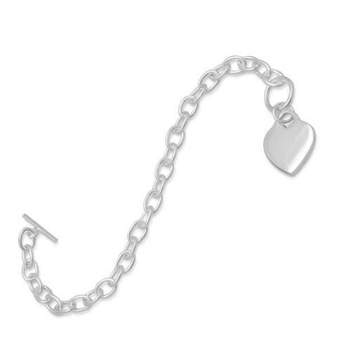 Alexa by Liv Oliver Silver Toggle Heart Charm Bracelet