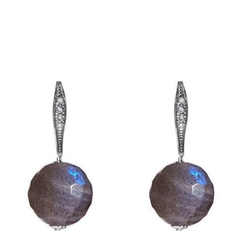 Alexa by Liv Oliver Silver/Grey Zirconia and Labradorite Drop Earrings