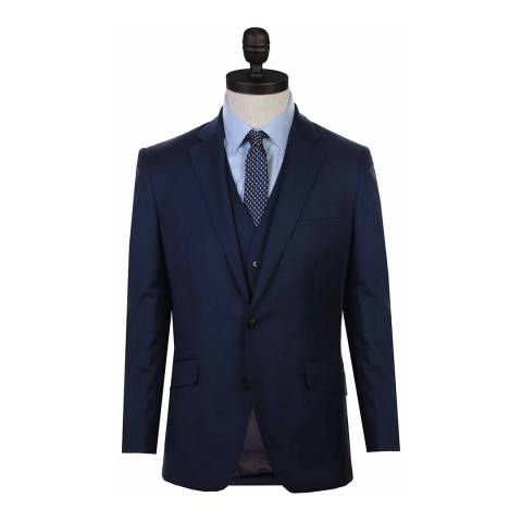 Austin Reed Navy Sharkskin Tailored Fit Wool Suit Jacket