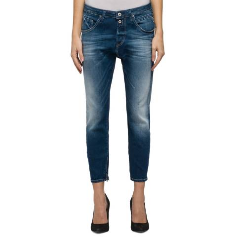 Replay Women's Indigo Zip Boyfriend Stretch Jeans