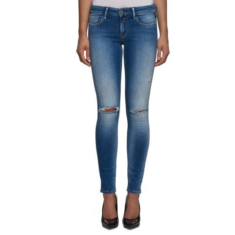 Replay Women's Mid Blue Ripped Skinny Stretch Jeans
