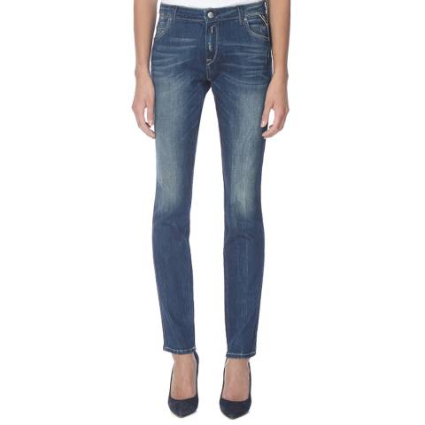 Replay Women's Deep Indigo Slim Fit Stretch Jeans