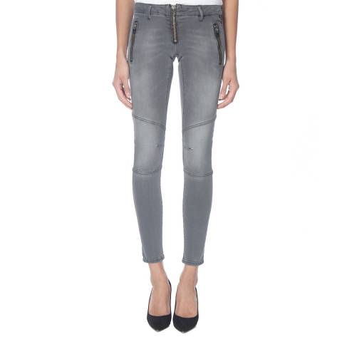 Replay Women's Grey Zip Skinny Stretch Jeans