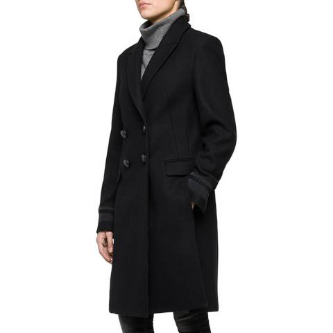 Replay Women's Black Double Breasted Wool Blend Coat