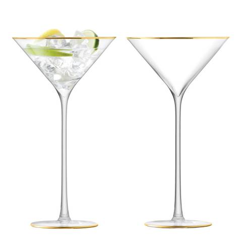 LSA Set of 2 Gold Celebrate Cocktail Glasses