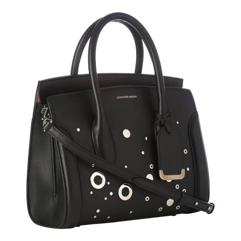 Alexander McQueen Black Heroine Eyelet Leather Bag