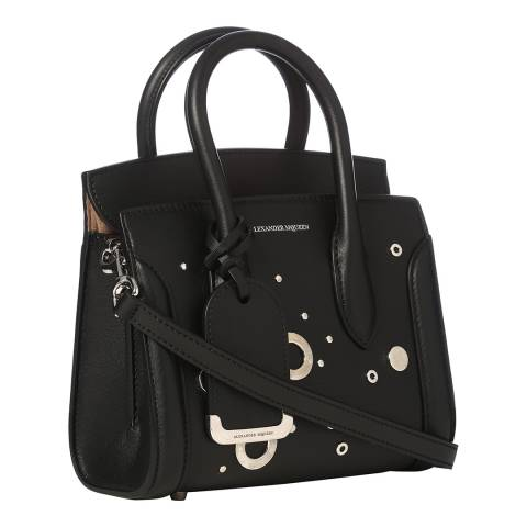 Alexander McQueen Black Mini Heroine Eyelet Leather Bag