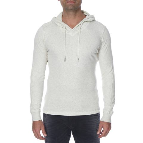 Diesel Cream Bush Ribbed Lightweight Cotton Blend Hoodie