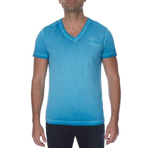 Diesel Blue Diego Pearls Pocket Cotton T-Shirt