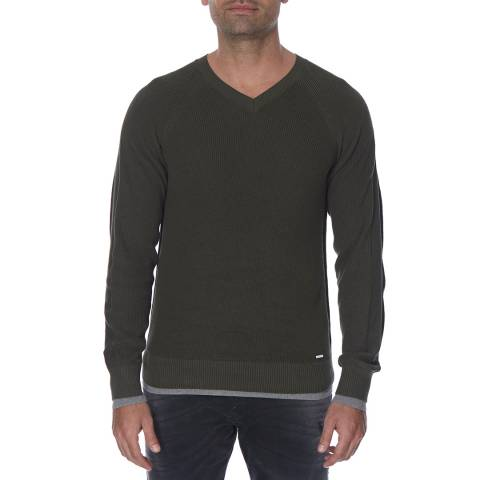 Diesel Army Green Alvarez Ribbed Contrast Cotton Jumper