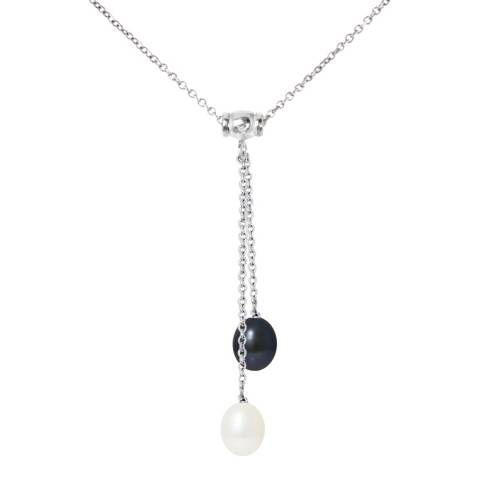 Manufacture Royale Silver Necklace with Natural & Black Freshwater Pearls 8-9 mm Length 42 cm