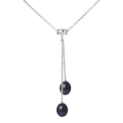 Manufacture Royale Silver Necklace with 2 Black Freshwater Pearls 8-9 mm Length 42 cm