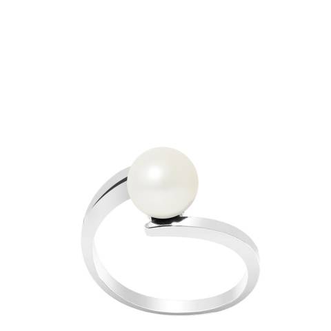Manufacture Royale Silver Shifted Ring with Natural Freshwater Pearl 7-8 mm