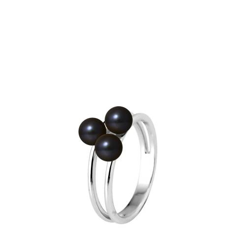 Manufacture Royale Silver Ring with 3 Black Freshwater Pearls 5-6 mm